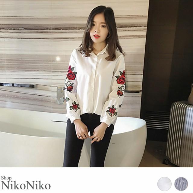 春新作 刺繍シャツ ma【即納】トップス シャツ 刺...