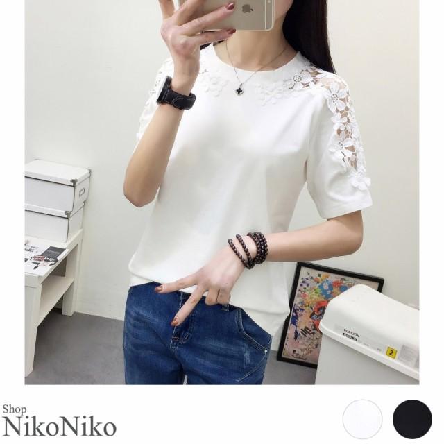 夏新作 レースショルダーTシャツ ma【6月中旬頃】...