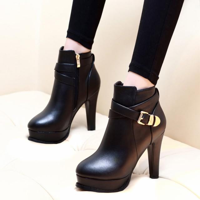 ブーツ ショートブーツ 10cm ヒール サイドジッ...