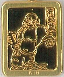 七福神純銀ゴールドペンダント(布袋尊)