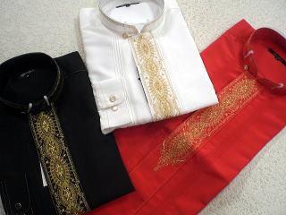 ドレスシャツ 前立衿 刺繍