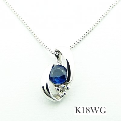【対応】【K18WG】9月誕生石★天然石サファ
