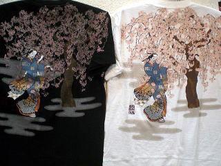 値下げ!カラクリ 和柄半袖Tシャツ 桜に女歌舞伎...