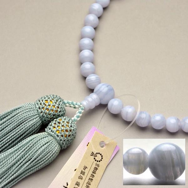京都数珠製造卸組合・女性用数珠・カルセドニー・...