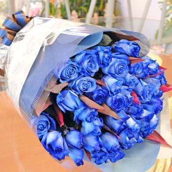 送料無料 青いバラの花束 ブルーローズ 50本の花...