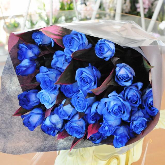 青いバラの花束 ブルーローズ 20本の花束 青バラ...
