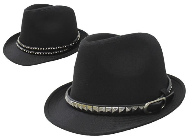 帽子/メンズ/ブラックボディー&ベルトテープ中折...