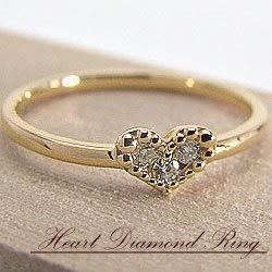 ハートダイヤモンドリング イエローゴールドK18 K...