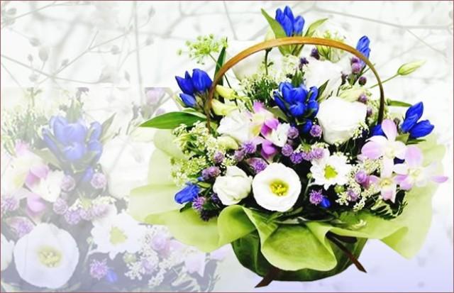 お供え花 【お供え】リンドウとトルコ桔梗のアレ...