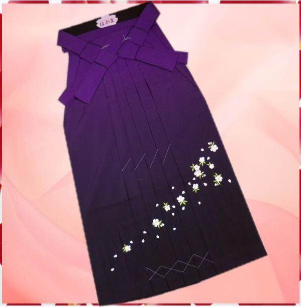グラデーションぼかし刺繍袴(はかま)紫色地桜M...