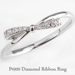 リボンリング ピンキーリング ダイヤモンド プラ...