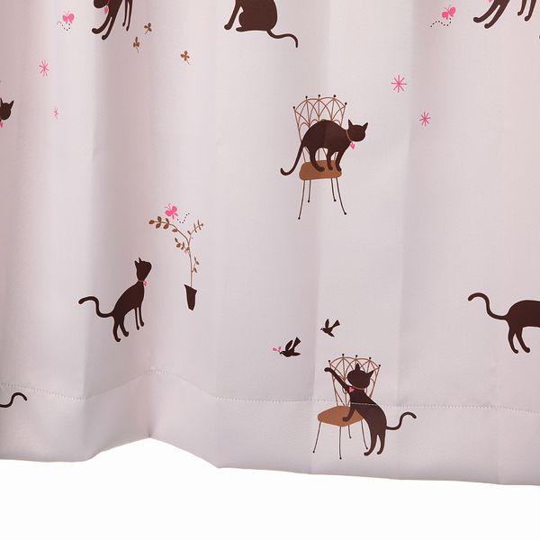 カーテン 遮光 猫柄 ピンク 幅100cm×丈135cm2枚...