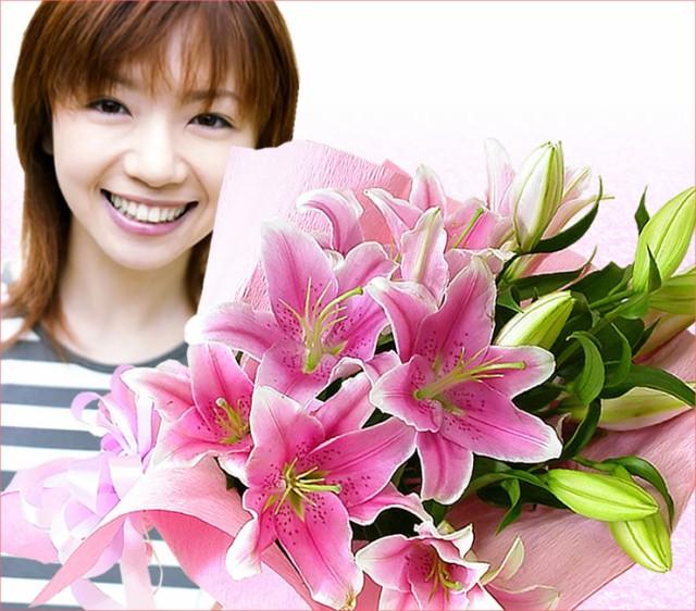 タイムセールでお買い得!大輪ピンクユリ花束