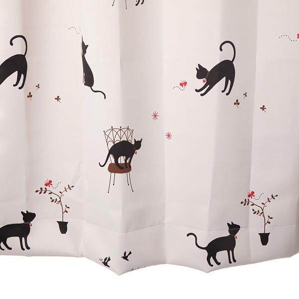 カーテン 遮光 猫柄 アイボリー 幅100cm×丈135cm...