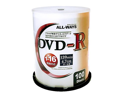 ALLWAYS ALDR47-16X100PW DVD-R 16倍速 ワイドプ...