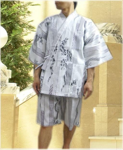 粋なメンズ男物男性銀糸入り甚平(じんべい)白地...