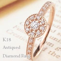 アンティーク リング 18金 指輪 ダイヤモンド K18...