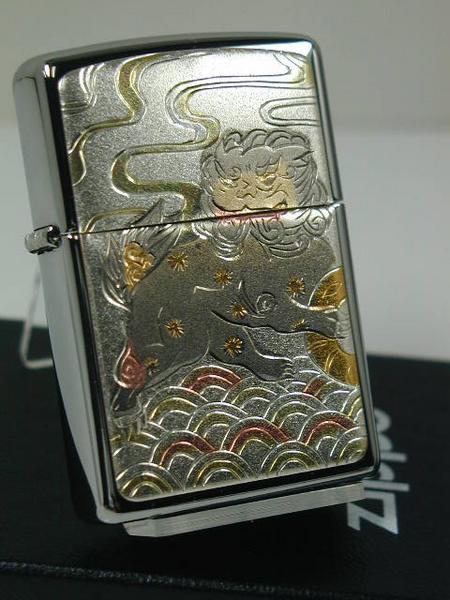 ジッポーZippo 電鋳和柄 しし獅子(#250デンチュ...