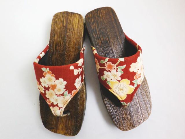 子供キッズ女の子用サンダル下駄焼桐茶台赤色地桜...