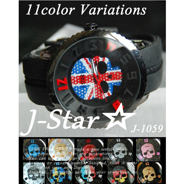 3D スカル ラバーベルト腕時計 全11色 / ジルコ...