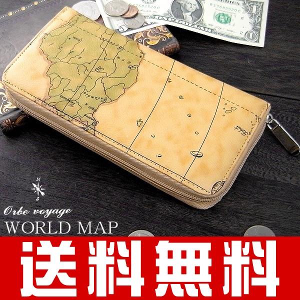 【送料無料】世界地図柄 ラウンドファスナー/ロ...