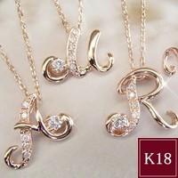 ダイヤモンド ネックレス K18PG イニシャル 3営業...