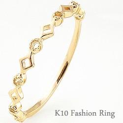 指輪 10金 ピンキーリング K10WG K10PG K10YG 重...