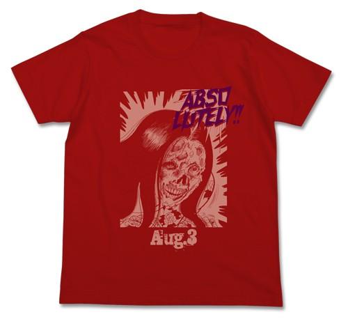 楳図かずお ABSOLUTELYTシャツ レッド 赤 恐怖 顔...