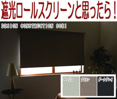 """激安""""遮光ロールスクリーン""""幅165×高さ220cm ..."""