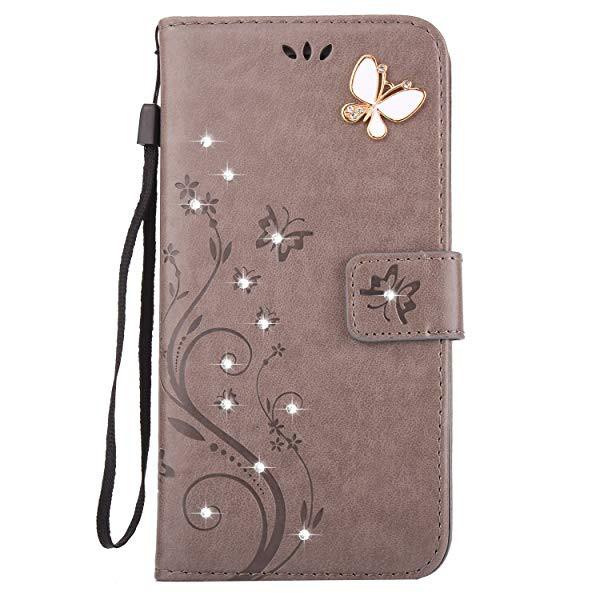 2088ef5db8 iphone 5 / 5S iphone SE ケース 手帳型 おしゃれ かわいい きらきら ラインストーン お花 蝶々