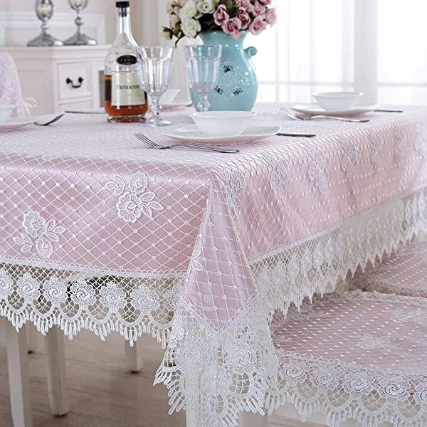 テーブルクロス 矩形 ピンクレース生地刺繍 レー...