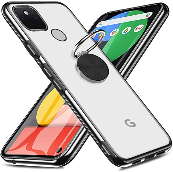 Google Pixel 5 ケース リング付き 指紋防止 半透...