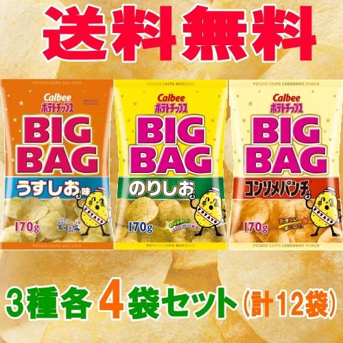 【送料無料】カルビー ポテトチップス BIGBAG(ビック) 170g 3種各4袋セット(計12袋) うすしお・のりしお・コンソメ