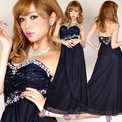 384e660d328a0 激安 セール ドレス キャバ ドレス パーティー ドレス ☆ ゴージャスビジュー上品レースシフォンロングドレス♪