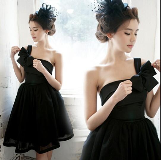 黒/白/ミニ/ショート/ミディアムドレス高品質/レ...