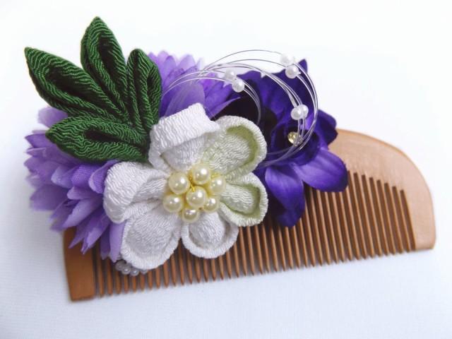振袖成人式&卒業式袴・浴衣に 花飾り付桃の木櫛...