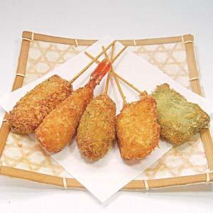 串揚げ セット5種(えび、白身魚、いか、かぼちゃ...