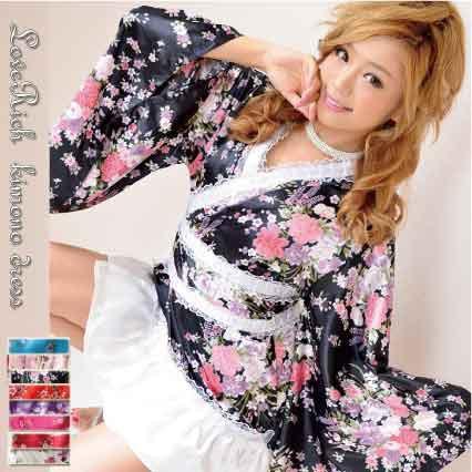 花魁 着物ドレス 浴衣ドレス ミニ【サテン和花柄...