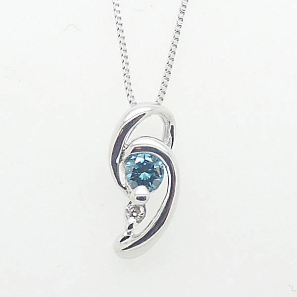 一粒 ブルーダイヤモンド K18 WG ネックレス:5...