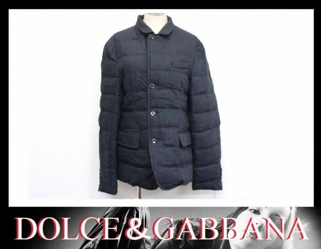 あす着 DOLCE&GABBANA ドルチェ&ガッバーナ ドルガバ メンズ ダウンジャケット アウター 上着 ウール51% コットン49% 46 ブラック系 美品