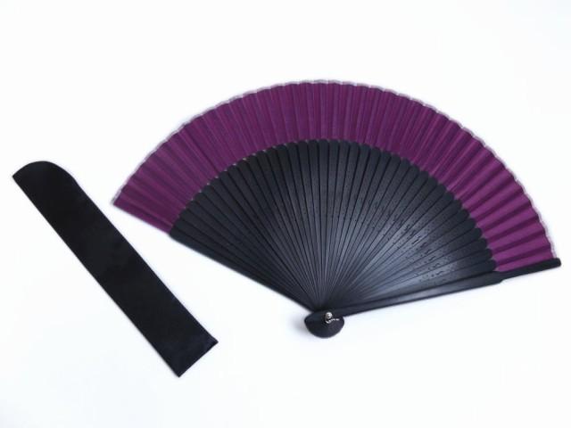 粋なメンズ男物男性シルク扇子&扇子袋セット紫色...