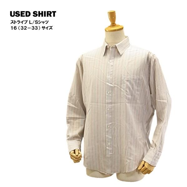 USED L/S シャツ レッド/ブルー ストライプ/16 (3...