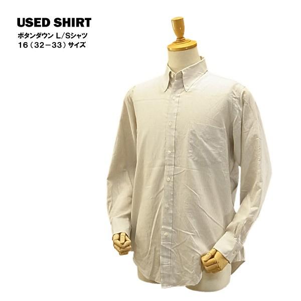 USED ボタンダウン L/S シャツ カーキ ストライプ...