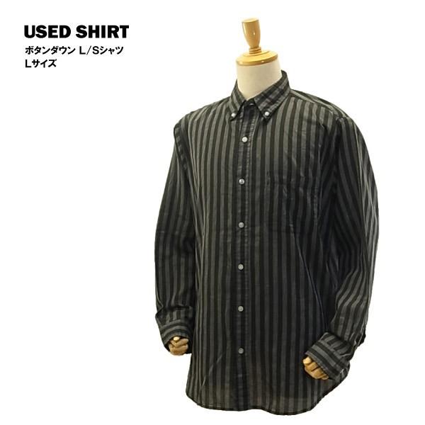 USED ボタンダウン L/S シャツ ブラック/グレー ...