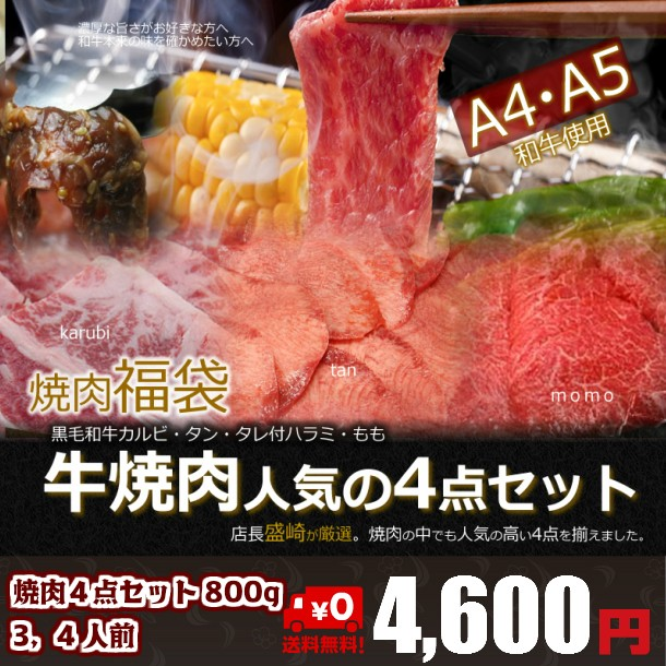 焼肉4点セット800g 3〜4人分 送料無料 焼肉/訳...