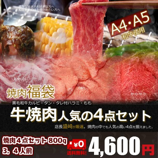焼肉4点セット800g 3〜4人分 送料無料 焼肉/訳...
