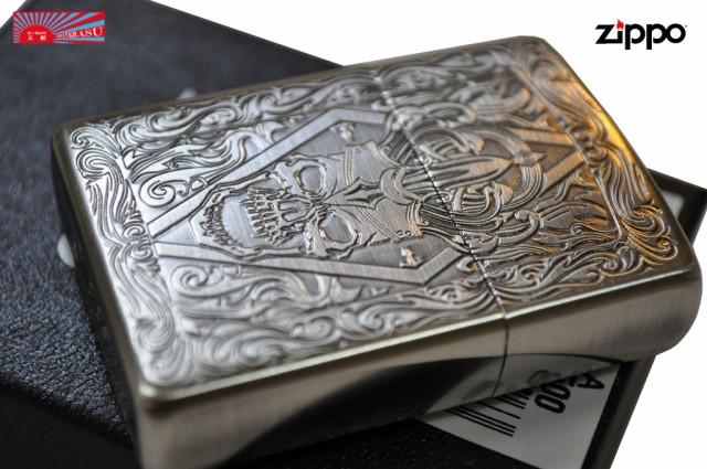 【ZIPPO】 ★クラシックドクロ彫刻◆真鍮銀色古美...