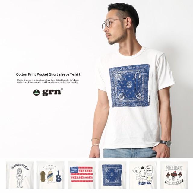 Tシャツ メンズ 半袖 プリントT ポケットT クルー...
