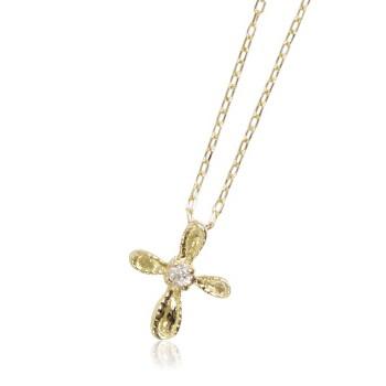 10金イエローゴールド ダイヤモンド 十字架クロス...