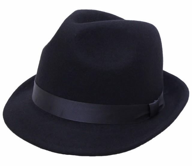 プレーンフェルト中折れハット★ブラック (帽子 ...